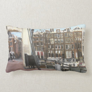 Amsterdam Bridge and Canal Houses Fine Art Pillow
