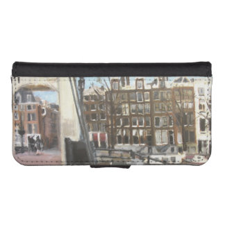 Amsterdam Bridge and Canal Houses Fine Art Phone Wallet