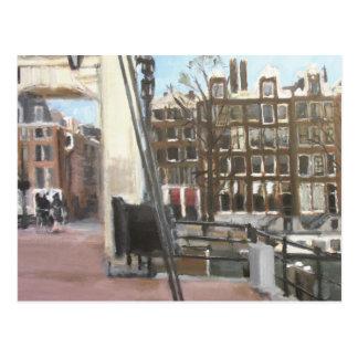 Amsterdam Bridge and Canal Houses Fine Art Postcard