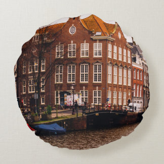 Amsterdam Canal and Architecture Round Pillow