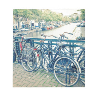 Amsterdam canal and bicycles notepad
