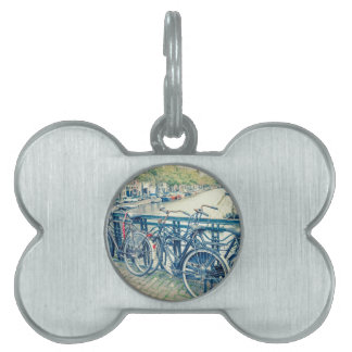 Amsterdam canal and bicycles pet ID tag