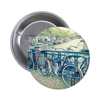 Amsterdam canal and bicycles pinback button