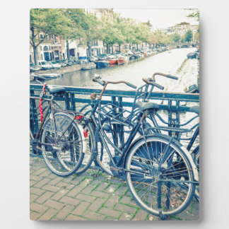 Amsterdam canal and bicycles plaque