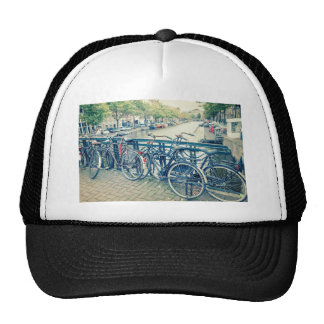 Amsterdam canal and bicycles trucker hat
