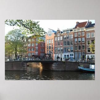 Amsterdam Canal and Bridge Print