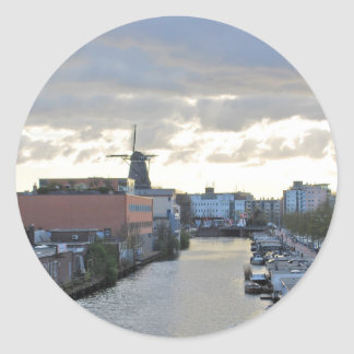 Amsterdam Canal and Windmill with setting Sun Classic Round Sticker