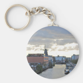Amsterdam Canal and Windmill with setting Sun Keychain
