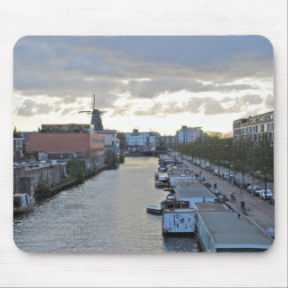 Amsterdam Canal and Windmill with setting Sun Mouse Pad