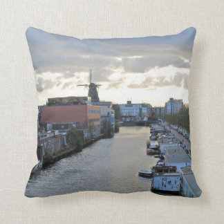 Amsterdam Canal and Windmill with setting Sun Pillow
