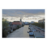 Amsterdam Canal and Windmill with setting Sun Poster
