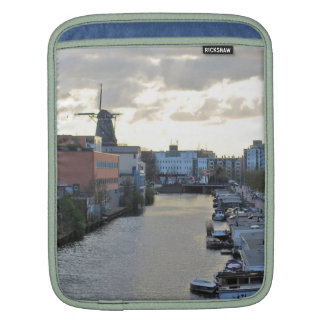 Amsterdam Canal and Windmill with setting Sun Sleeves For iPads