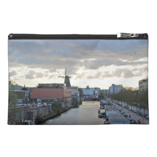 Amsterdam Canal and Windmill with setting Sun Travel Accessory Bag
