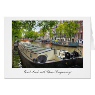 Amsterdam Canal Barge - Good Luck with Pregnancy Card