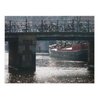 Amsterdam Canal Bicycles on Bridge Photo Poster