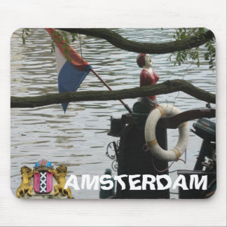 Amsterdam Canal Boat Detail Mousepad
