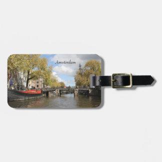 Amsterdam, Canal, Bridge, Houseboat, Church Spire Luggage Tag