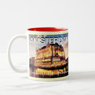 AMSTERDAM CANAL BY MOJISOLA A GBADAMOSI Two-Tone COFFEE MUG