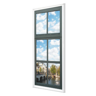 Amsterdam Canal House Window View Canvas Print