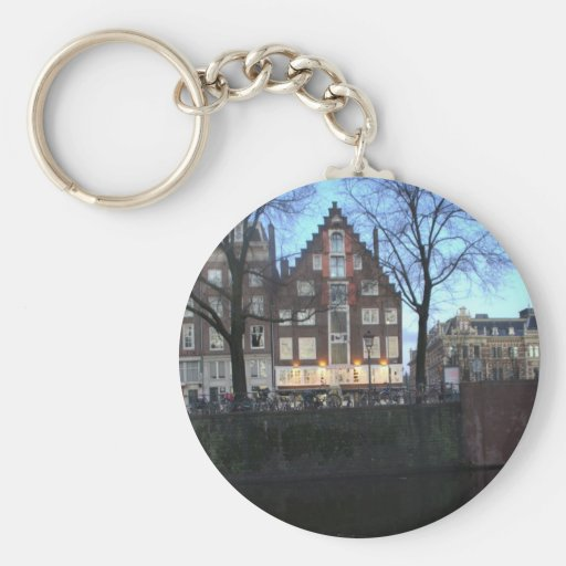 Amsterdam Canal Houses Basic Round Button Keychain