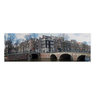 Amsterdam Canal Houses & Bridges Holland Bookmark Double-Sided Mini Business Cards (Pack Of 20)