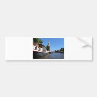 Amsterdam canal view - Boats and spire Bumper Sticker