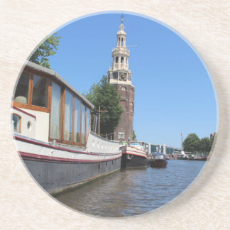 Amsterdam canal view - Boats and spire Drink Coaster