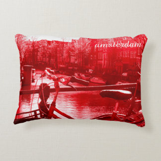 amsterdam canal view with front of bicycle decorative pillow