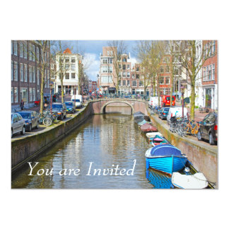 Amsterdam Canal with boats Card