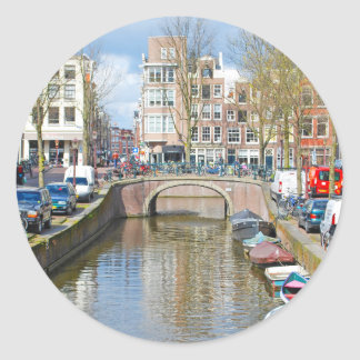 Amsterdam Canal with boats Classic Round Sticker