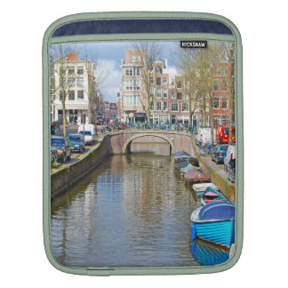 Amsterdam Canal with boats iPad Sleeve