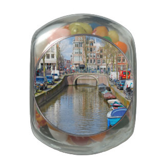 Amsterdam Canal with boats Jelly Belly Candy Jar