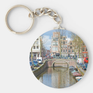 Amsterdam Canal with boats Keychain