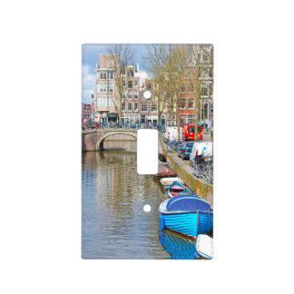 Amsterdam Canal with boats Light Switch Cover
