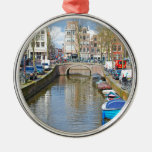 Amsterdam Canal with boats Metal Ornament