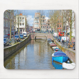 Amsterdam Canal with boats Mouse Pad