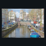 """Amsterdam Canal with boats Placemat<br><div class=""""desc"""">This image was taken in Amsterdam in springtime. Amsterdam is known for canals, tulips, biking, walking and the wonderful people that inhabit it. The Netherlands is a wonderful country for tourist attractions and to live. You can personalize the design further if you&#39;d prefer, such as by adding your name or...</div>"""