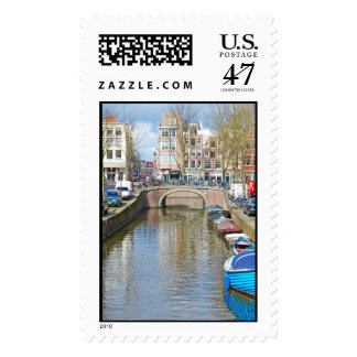 Amsterdam Canal with boats Postage