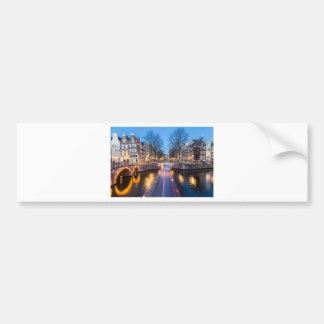 Amsterdam Canals at Night Bumper Sticker