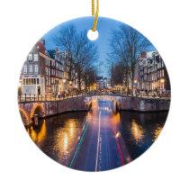 Amsterdam Canals at Night Ceramic Ornament