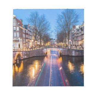 Amsterdam Canals at Night Notepad
