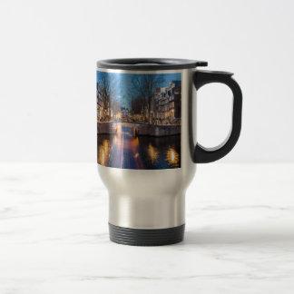 Amsterdam Canals at Night Travel Mug
