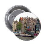 Amsterdam, casas en el canal pin redondo de 2 pulgadas