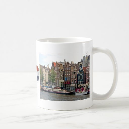 Amsterdam, casas en el canal tazas de café
