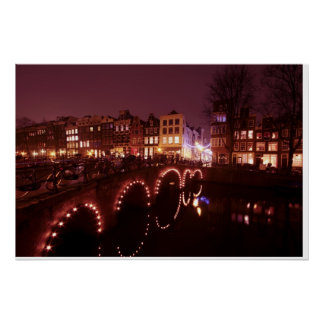 Amsterdam city by night in the Netherlands Posters