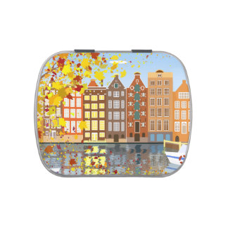Amsterdam City Canal Autumn Colorful Candy Tin