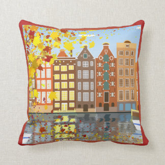 Amsterdam City Canal Autumn Colorful Throw Pillow