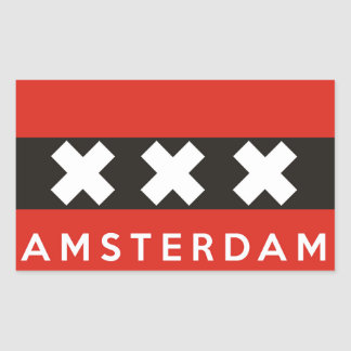 amsterdam city flag netherlands country name text rectangular stickers