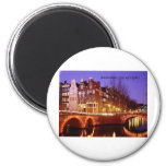 Amsterdam, City of Lights (by St.K.) 2 Inch Round Magnet