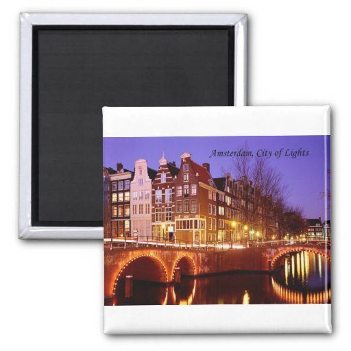 Amsterdam, City of Lights (by St.K.) 2 Inch Square Magnet